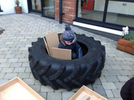Great exploratory play in the courtyard for P2