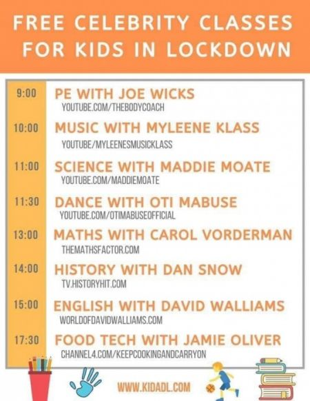 Need a bit of structure to your day?? Follow this celebrity lesson timetable!